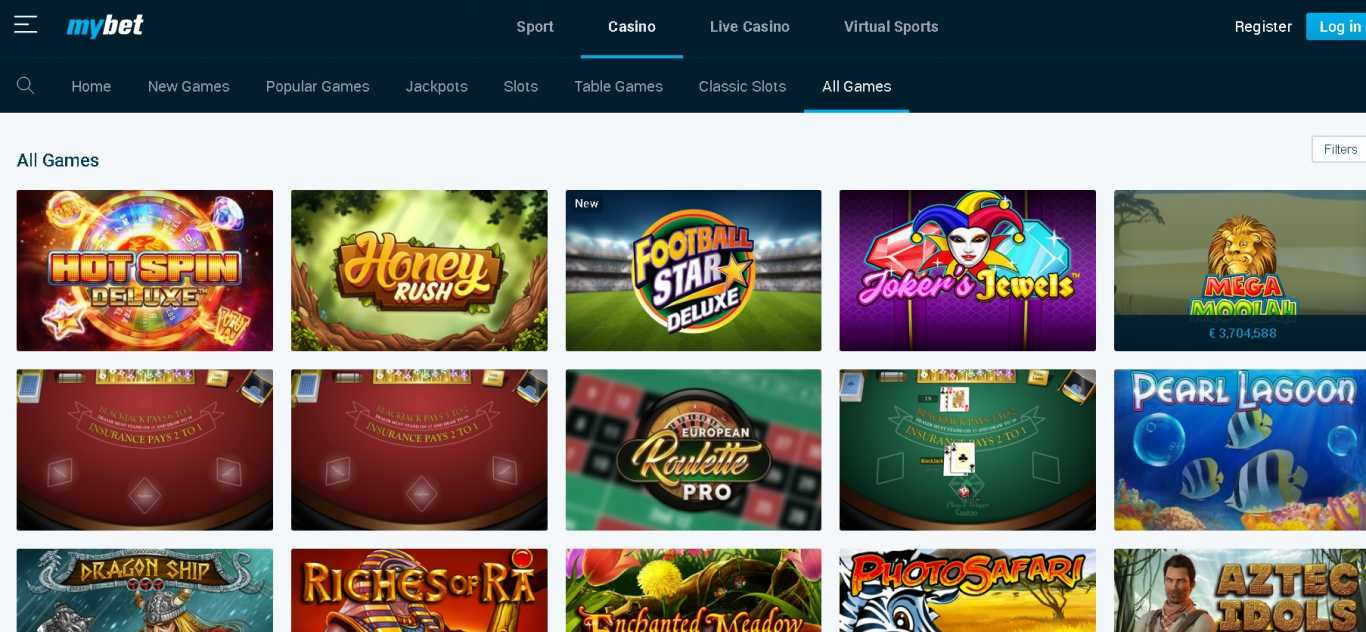 Mybet mobile casino games